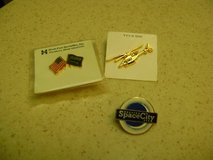 3 Different Lapel Or Dress Pins To Wear Including Flag Pin in Houston, Texas