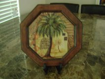Ceramic Plate With Palm Tree Scene & Easel To Display It in Kingwood, Texas